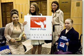 Kelly Rouba (far right), of EAD, at the Disability Power and Pride Inaugural Ball in Washington, DC.  Ms. Rouba was a member of the Ball's Event Media Committee along with Juliette Rizzo (far left), Director of Exhibits & Event Planning for the Dept. of Education, and Kendra Kojcsich, of Porter Novelli. Pictured second from the right is Jordan Silver, founder of Ag Apparel, an accessible clothing line.