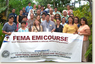 Halfway across the world, the EAD & Associates, LLC team brings the FEMA G197 Course 'Emergency Planning and Special Needs Planning' to emergency officials in American Samoa. Pictured here is the EAD & Associates, LLC team with the class attendees and other government and emergency officials including three Chiefs.