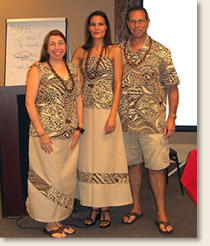Going nearly halfway around the world, members of the EAD team bring a culturally modified FEMA G-197 Course Emergency Planning and Special Needs Populations to emergency planners in American Samoa and strategy sessions to several island Chiefs. Pictured here in traditional American Samoa dress, from left to right is Elizabeth Davis,Jennifer Mincin, and Mike Weston.
