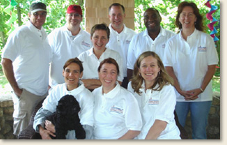 During the summer of 2007, members of the EAD team met for a working retreat on Martha's Vineyard for team building and strategic planning. Back row, left to right: Mike Weston, Hal Newman, Ray Czwakiel, Luis Penalver, Brenda Philips; Middle: Annie Grunewald; Front row, left to right: Jennifer Mincin, Elizabeth Davis, Rebecca Hansen